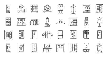 Dressing room icons set, outline style