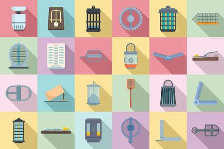 Animal trap icons set, flat style Vektoros illusztráció