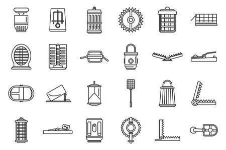 Hunter animal trap icons set, outline style