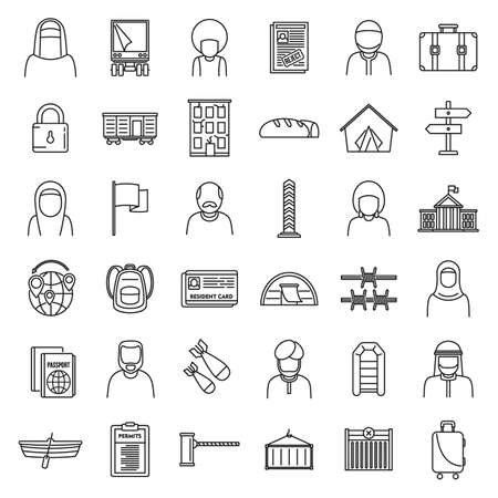 Africa illegal immigrants icons set, outline style