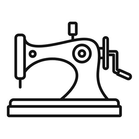 Old sewing machine icon, outline style