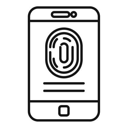 Fingerprint phone authentication icon, outline style