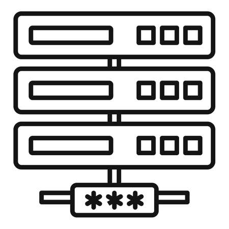 Server network authentication icon, outline style