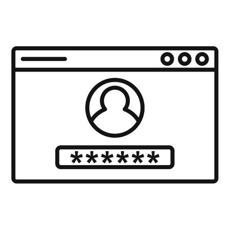 Web authentication icon, outline style