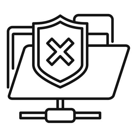 Folder access authentication icon, outline style Иллюстрация