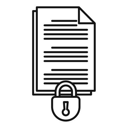 Document access authentication icon, outline style