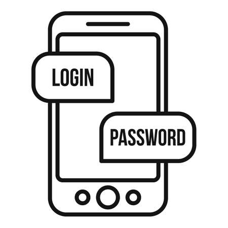 Phone login authentication icon, outline style