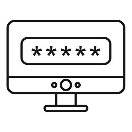 Pc login authentication icon, outline style