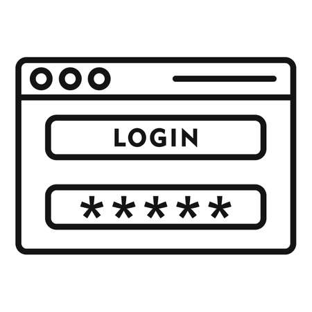 Login page authentication icon, outline style