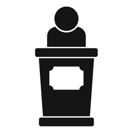 Empowerment woman speaker icon, simple style