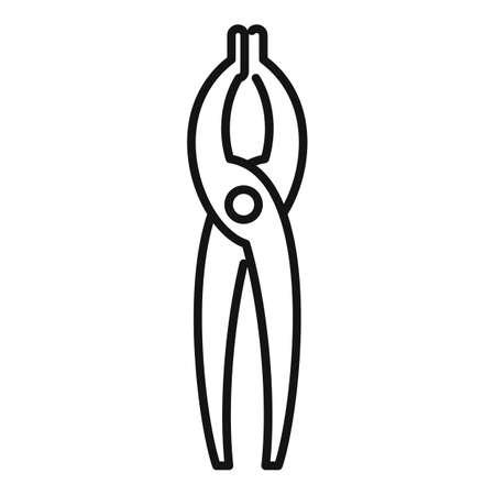 Blacksmith pliers icon, outline style