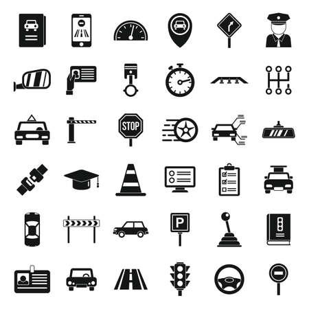 Driving school icons set, simple style Vecteurs