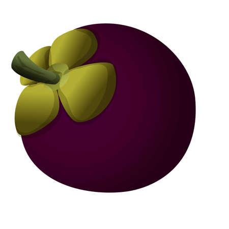 Raw mangosteen icon, cartoon style Иллюстрация