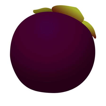 Juicy mangosteen icon, cartoon style Иллюстрация