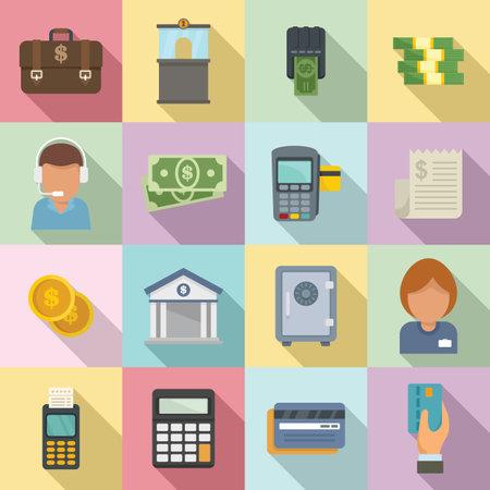 Bank teller icons set, flat style