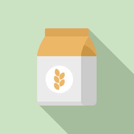 Flour pack icon, flat style