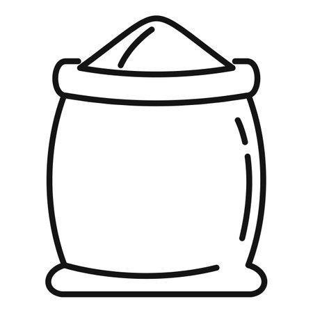 Open flour sack icon, outline style