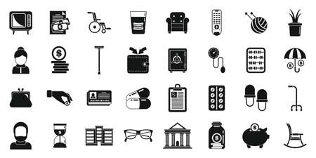 Retirement pension icons set, simple style