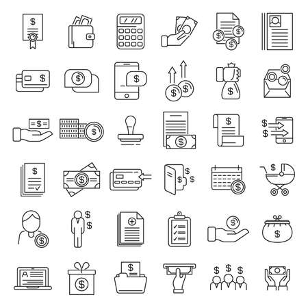 Allowance icons set, outline style