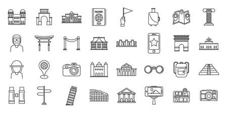 Sightseeing tourist icons set, outline style