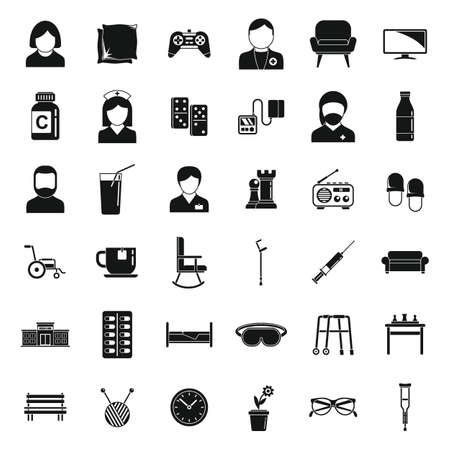 Active nursing home icons set, simple style