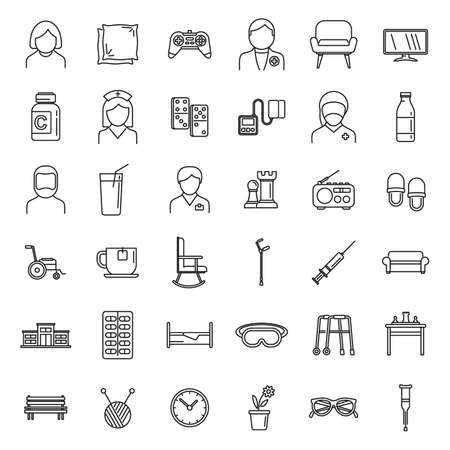Aged nursing home icons set, outline style
