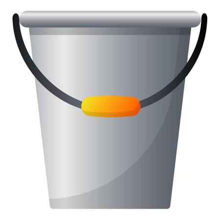 Garden steel bucket icon, cartoon style