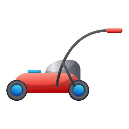 Lawn mower icon, cartoon style