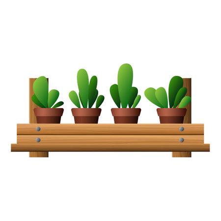 Garden plants pot icon, cartoon style