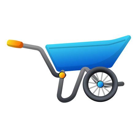 Garden wheelbarrow icon, cartoon style 矢量图像