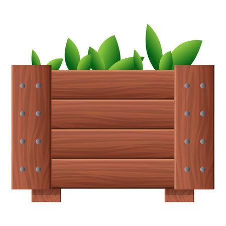 Garden plant wood pot icon, cartoon style