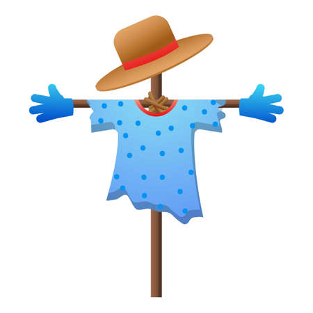 Garden scarecrow icon, cartoon style