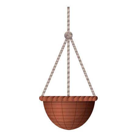 Garden plant basket icon, cartoon style 矢量图像