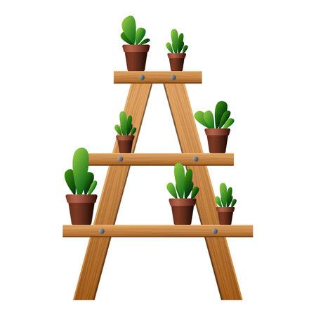 Garden plant rake icon, cartoon style