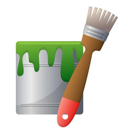 Garden pain bucket icon, cartoon style