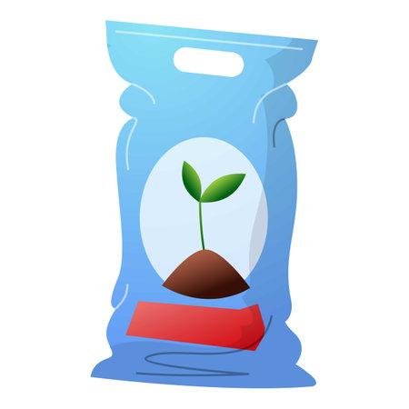 Plant soil sack icon, cartoon style
