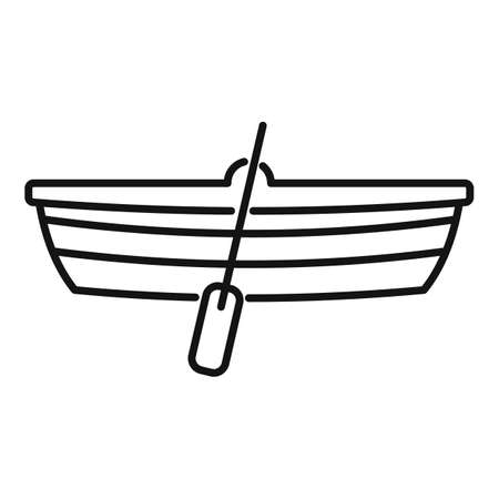 Immigrants wood boat icon, outline style Vektoros illusztráció