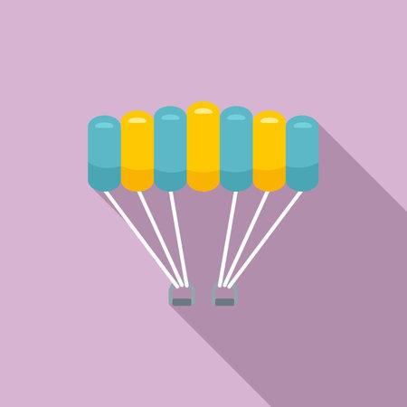 Air parachuting icon, flat style