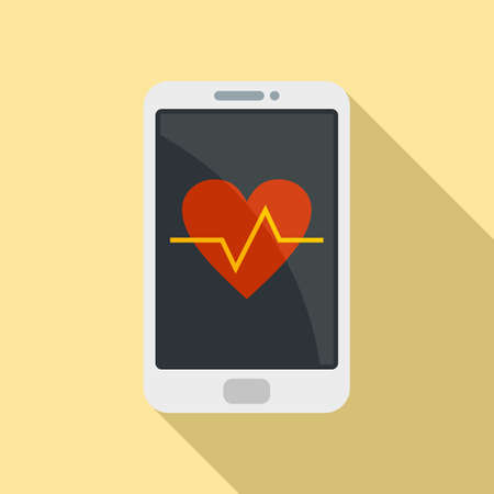 Heart rate smartphone icon, flat style