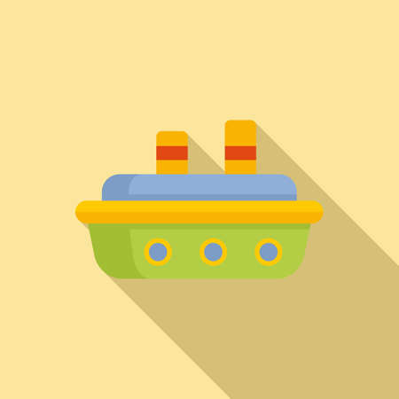 Rubber ship icon, flat style