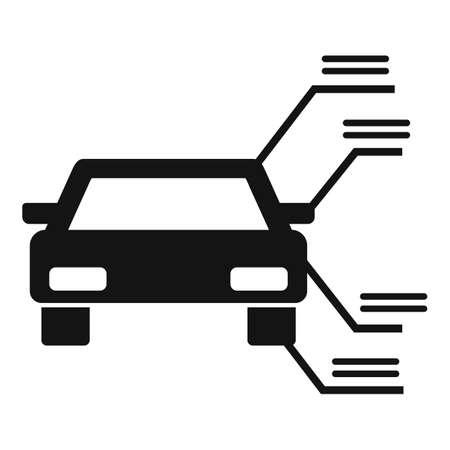 Driving school car description icon, simple style