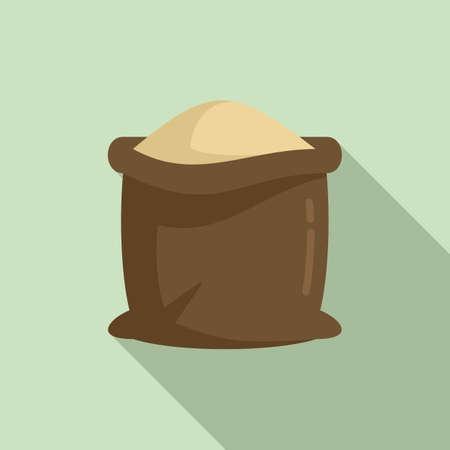 Farm sack compost icon, flat style