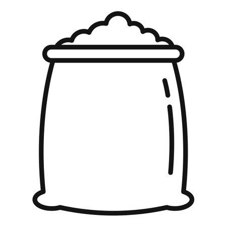 Fertilizer soil sack icon, outline style