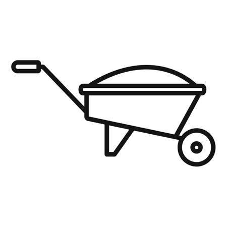 Compost wheelbarrow icon, outline style Illustration