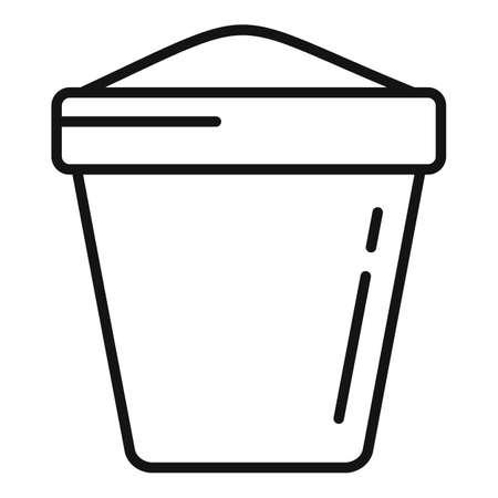 Fertilizer plant pot icon, outline style Illustration