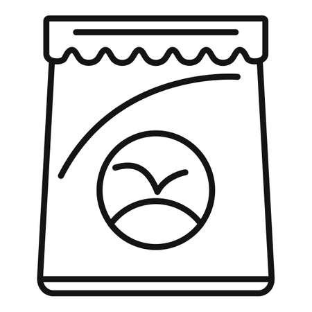 Fertilizer bag icon, outline style Illustration
