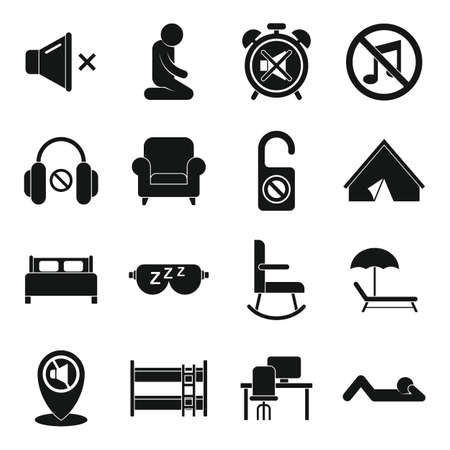Quiet spaces icons set, simple style