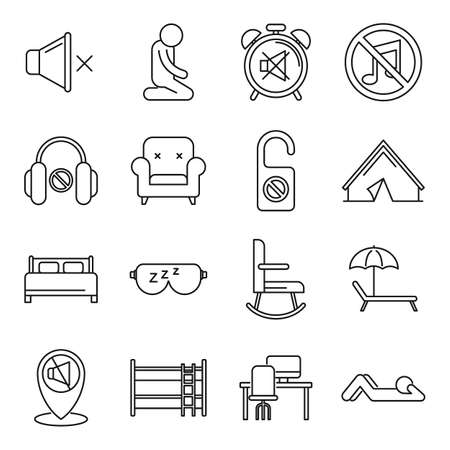 Summer quiet spaces icons set, outline style