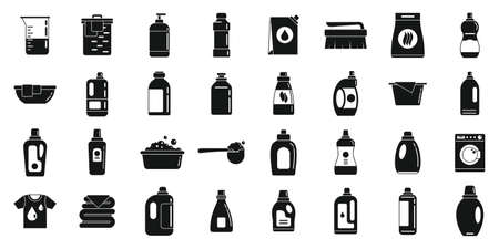 Fabric softener icons set, simple style