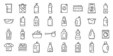 Wash softener icons set, outline style